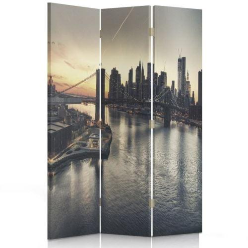 Feeby Cloison de séparation 3 parties Paravent d'intérieur pivotant, Brooklyn Bridge New York 110x180 cm