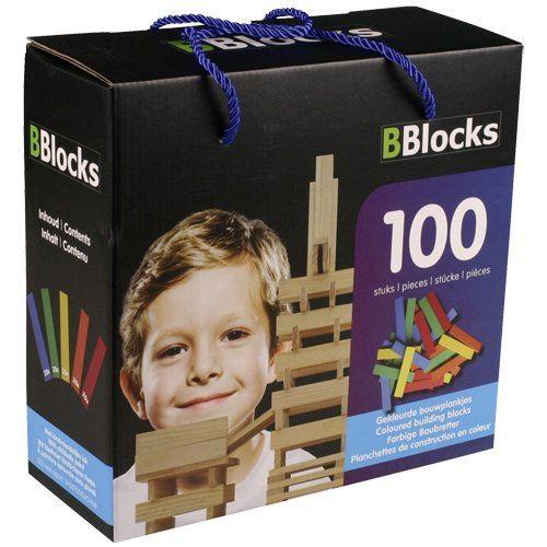 Coffret de 100 Planchettes en Bois de Couleurs - Bblocks 30027