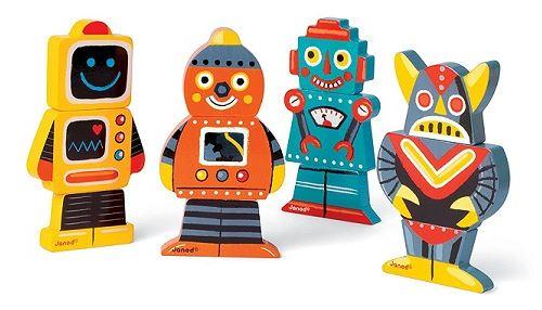 Janod - magnets en bois - funny magnet robots
