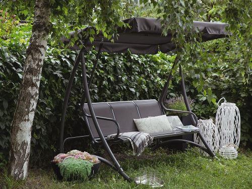 Beliani - Balancelle de jardin - balancelle en métal et tissu gris - Bogart