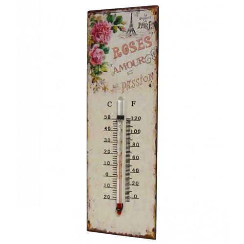 L'Héritier Du Temps - Thermomètre mural décoratif en celsius et farenheit ou à poser motif 'floral ancien' en fer et papier 0,5x8x25cm