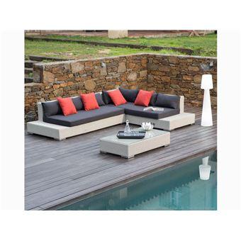 Salon de jardin 6 places : Canapé d\'angle + Table basse en ...