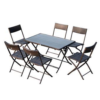 Ensemble salon de jardin 6 personnes grande table rectangulaire pliable + 6  chaises pliantes métal résine tressée PC chocolat