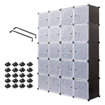 Armoire Penderie Portable Etagere De Rangement Avec 20 Casiers Cubes De Stockage Modulaire En Plastique En Metal Stable Noir Blanc Achat Prix Fnac
