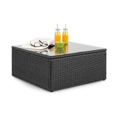 Blumfeldt Theia Table de salon de jardin élégante avec plateau en verre - design polyrotin tressé noir