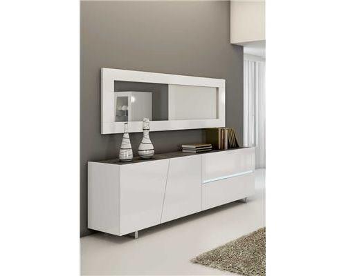 Buffet bahut blanc laqué design JOSHUA - Blanc - L 200 x P 50 x H 75 cm