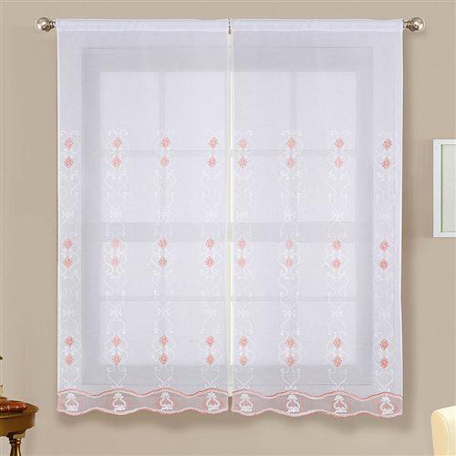 Paire de vitrages brillants - rose - 2x60x160cm