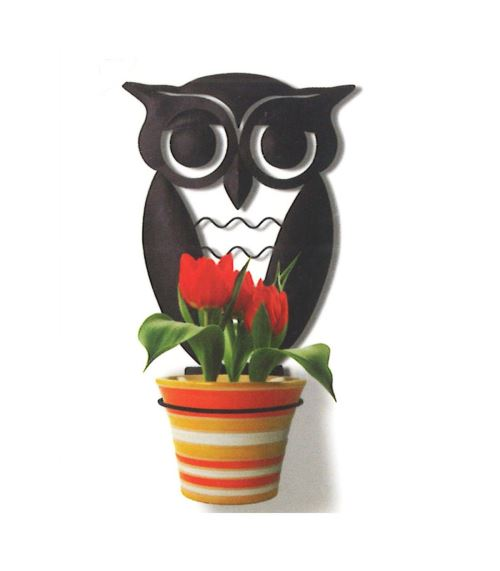 Support de plante design hibou