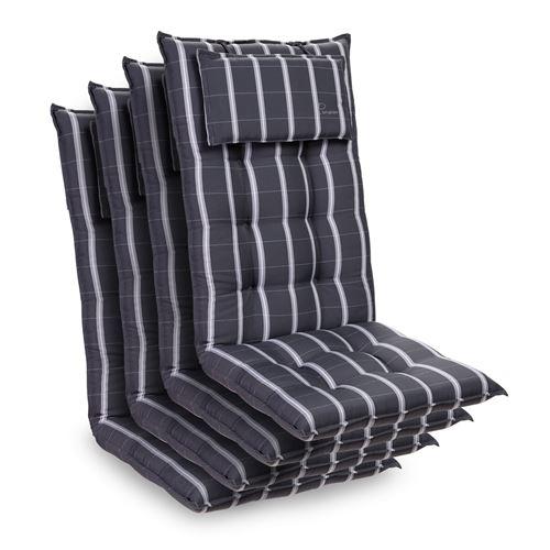 Coussin de chaise de jardin -Blumfeldt Sylt -120 x 50 x9 cm -4 pièces -Gris/Gris clair