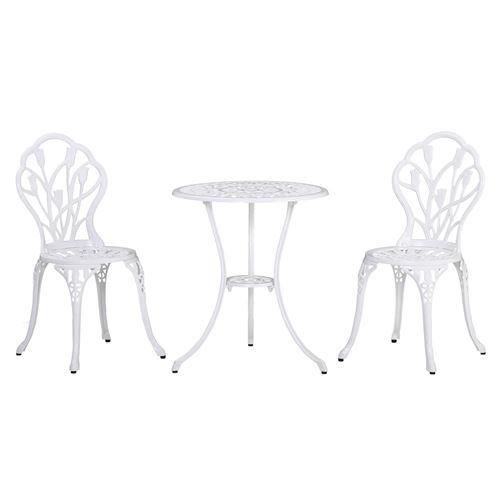 Ensemble salon de jardin 2 places 2 chaises + table ronde fonte d'aluminium imitation fer forgé blanc