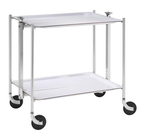Table roulante pliable - 2 plateaux - blanc