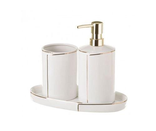 Set Salle de Bain Céramique Blanc et Or - Distributeur Savon, Verre, Porte Savon