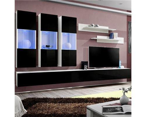 Ensemble TV mural noir et blanc ARDARA - L 320 x P 40 x H 190 cm