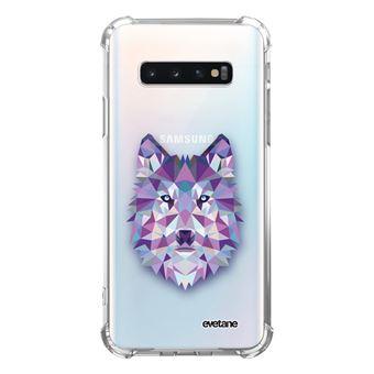 Coque pour Samsung Galaxy S10 Plus anti-choc souple angles renforcés transparente Loup geometrique [Evetane®]