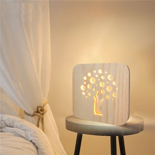 Creative Craft Décoration Lampe en bois Led Lumière Veilleuse Lampe de table_onaeatza456