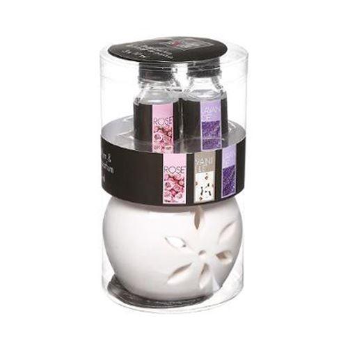 Brûle-Parfum & 3 Flacons d'Huiles Pura 10ml Floral