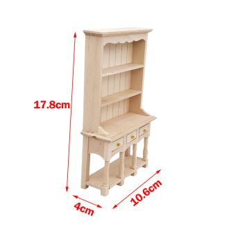 2x 1:12 Scale Dolls House Furniture Wooden Display Cabinets Bookcase DIY Scenes
