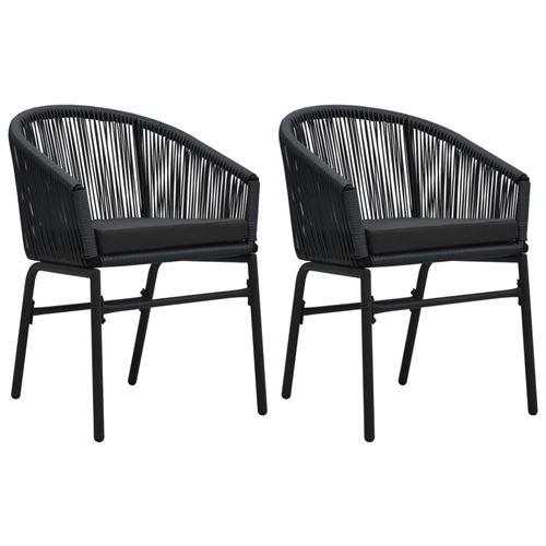Chaises de jardin 2 pcs Noir Rotin PVC