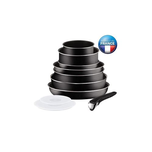 Tefal Ingenio Essential Batterie De Cuisine 10 Pieces L2008802 16-20-24-26-28cm - Tous Feux Sauf Induction - Noir