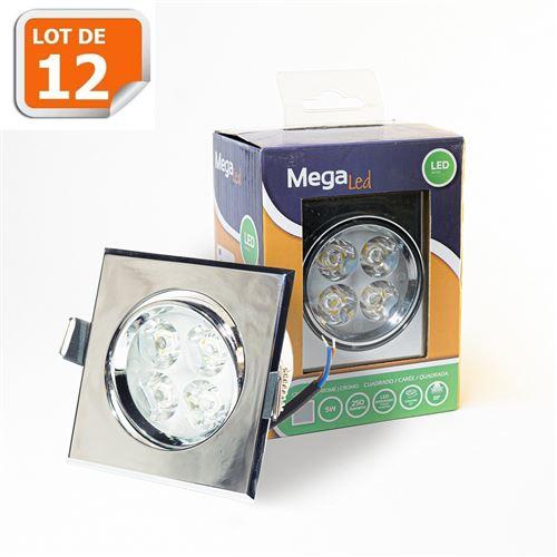 Lot 12 Spots encastrables LED amovibles Argenté 5W - Equivalent 50W - Mega Led CLISS50W