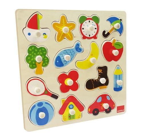 Puzzle en bois a encastrement - objets du quotidien - 15 pieces
