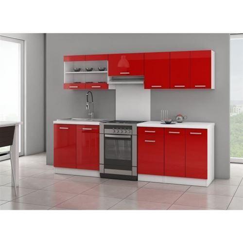 Ultra Cuisine Complete Avec Plan De Travail L 2m40 - Rouge Laque Brillant