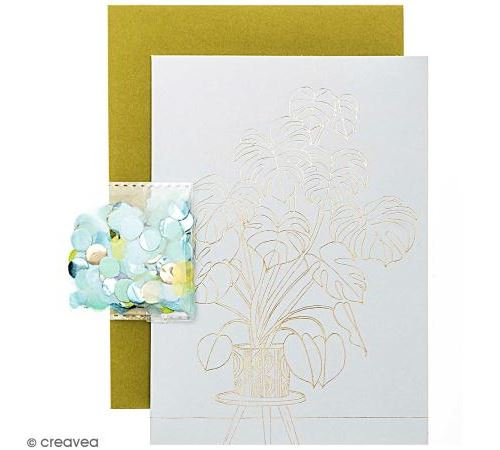 Kit carte anniversaire à personnaliser - Rico Design Hygge - Monstera - 12,5 x 17,5 cm