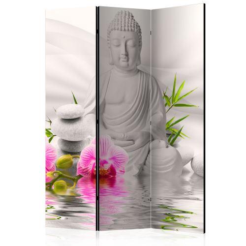 Paravent 3 volets - Buddha and Orchids [Room Dividers] - Décoration, image, art | 135x172 cm |