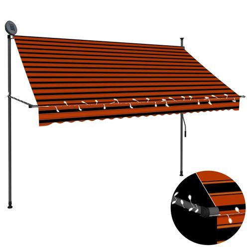 Auvent manuel rétractable avec LED 250 cm - Orange et marron