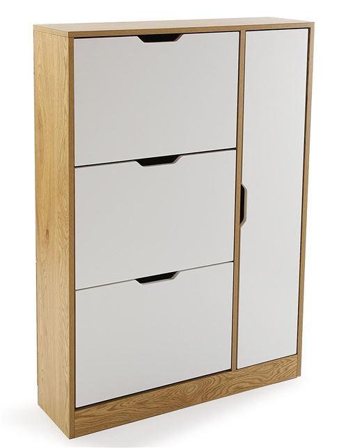 Meuble à chaussures en bois, coloris blanc / naturel - L.80 x P.23.5 x H.117 cm -PEGANE-