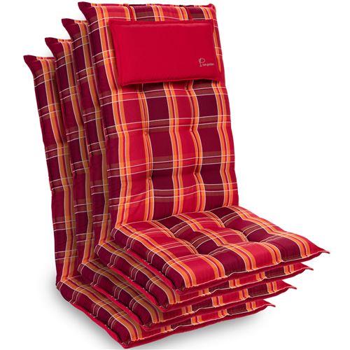 Coussin de chaise de jardin -Blumfeldt Sylt -120 x 50 x9 cm -4 pièces -Carreaux Rouges