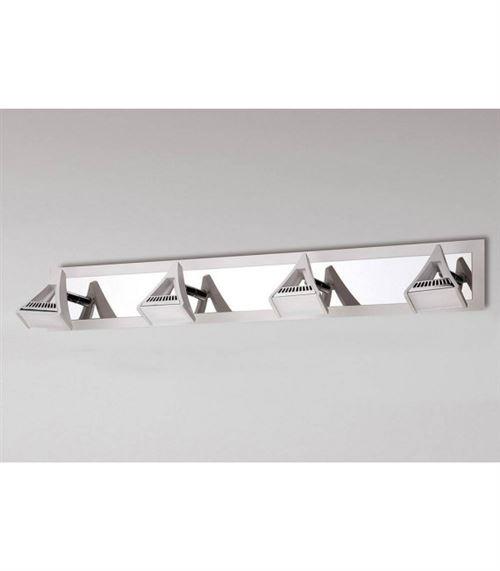 Spot Filippo 4 Ampoules LED 20W 3000K, 1750lm, blanc mat/chrome poli