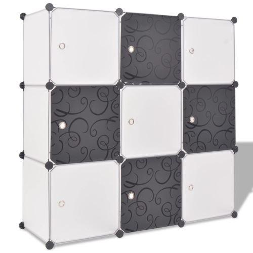 Meelady cube de rangement 9 compartiments Noir/Blanc 110 x 37 x 110 cm