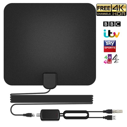 Antenne TNT HD TV Intérieur Puissante 50-60 Miles Range Amplifié Digital Câble Coaxial