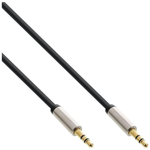 Câble audio mince InLine® 3,5 mm mâle à mâle stéréo 0,5 m