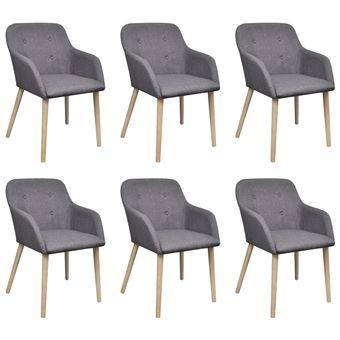 vidaXL Chaise de salle à manger 6 pcs Cadre en chêne Tissu Gris foncé