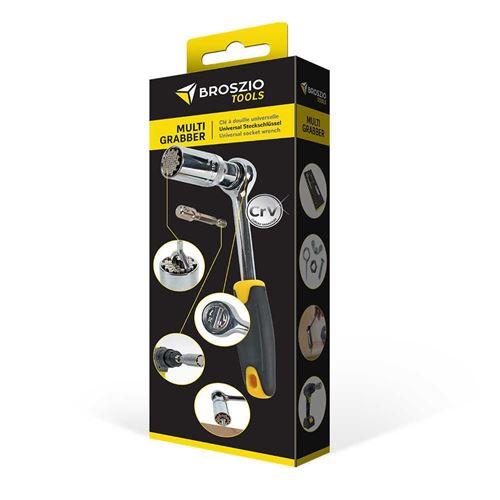 Clé à douille universelle pour tous types de vis, écrous et crochets, en acier CrV, s'adapte à toutes les tailles de 9 à 21 mm