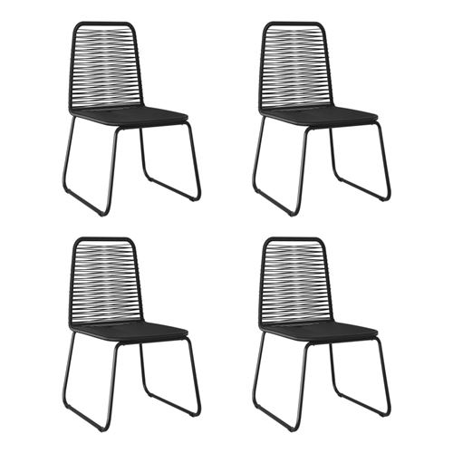 Chaises d'extérieur 4 pcs Résine tressée Noir