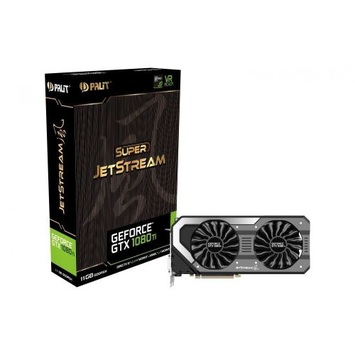 Palit GeForce GTX 1080 Ti Super JetStream Carte graphique 11GB GDDR5X VR Ready, 3584 Core, GPU 1531MHz, Boost 1645MHz. Double ventilateur avec des lames TurboFan et technologie de 0 dB. Marque : Palit Microsystems, Inc. Numéro du modèle de l´article : NEB