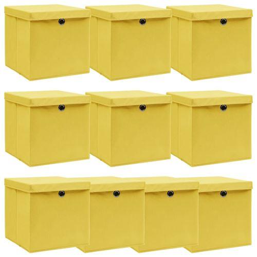 vidaXL Boîtes de rangement et couvercles 10 pcs Jaune 32x32x32cm Tissu