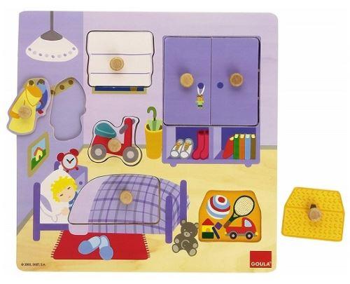 Puzzle eveil bebe 7 pieces boutons - objets chambre d'enfant - encastrement bois