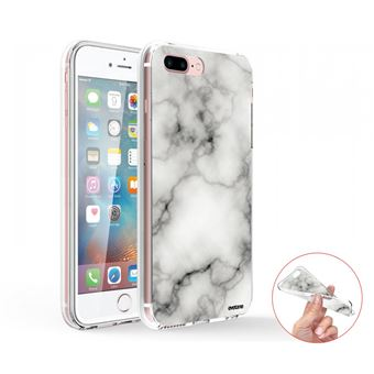 Coque Iphone 7 Plus / 8 Plus 360 Intégrale Transparente, Marbre Blanc, Evetane®