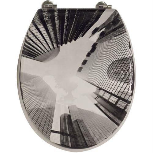 Arvix - Abattant de Toilette Gratte ciel en bois compresse MDF Charniere metal Siege WC
