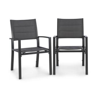 gris toile Lot Torremolinos foncé hydrofugealuminium Blumfeldt 2 de chaises rembourrées jardin bg6vYf7y