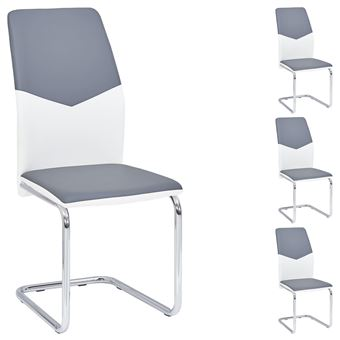Lot De 4 Chaises De Salle A Manger Leona Pietement Chrome Revetement Synthetique Bicolore Blanc Et Gris