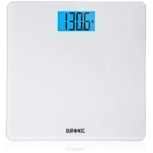 Duronic BS403 Balance Corporelle / Pèse Personne Capacité élevée de 180kg Ecran LCD éclairé lisible Verre blanc Mesure en kilogrammes Automatique 4 Capteurs précis Surveillez votre poids