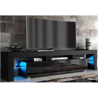 énorme réduction a65ef d17a9 Meuble TV SPIDER BIG à LED en Noir MAT avec portes Noir Laqué 200 cm
