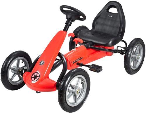 HyperMotion Go Kart à Pédales Enfant 5 à 12 ans Frein à Main Roues Pompées Rouge