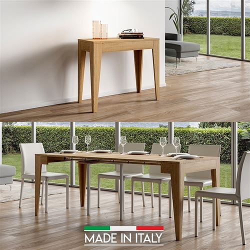 Table Console extensible Isotta Bois - Chêne Nature - 3 Rallonges
