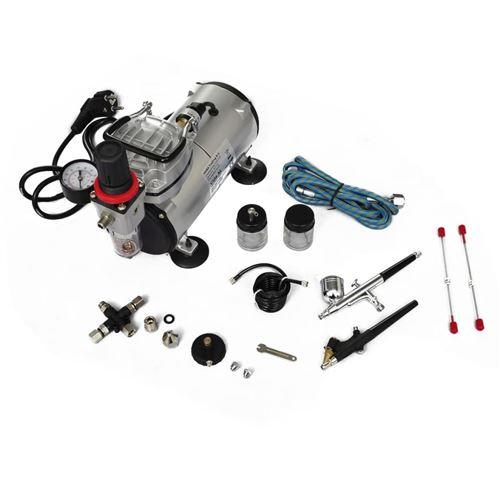 vidaXL Kit Compresseur Airbrush Professionnel avec 2 Pistolets A/érographe